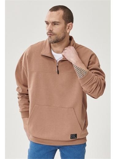 AC&Co / Altınyıldız Classics Oversize Günlük Rahat Yarım Balıkçı Yaka Spor Sweatshirt 4A5221200003 Vizon